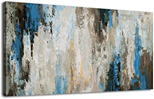 Abstract Wall Art Blue Canvas Painting Forest Pictures Castle Prints Canvas Artwork Rustic Contemporary Wall Decor for Bedroom Living Room Bathroom Kitchen Office Home Framed Ready to Hang 20