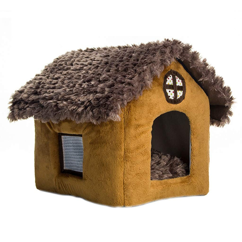 Brown LKennel, Cat Litter Small Dog Pet Nest Thatched Cottage Winter Warm Comfortable With Window Breathable Removable Washable (color   Brown, Size   L)