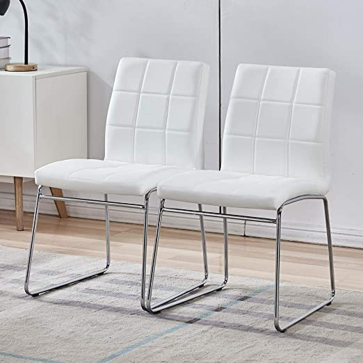Amazon Com Modern Faux Leather Dining Chairs Indoor Use Comfortable Kitchen Chairs With Chrome Legs For Kitchen Living Bedroom Dining Room Side Chairs Set Of 2 White Chairs