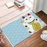BMALL Rubber Doormat Outdoor Door Mats Rubber Shoes Scraper for Front Door Entrance Outside Doormat Lucky Cat of Chinese Japan Elements