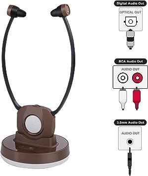 Jelly Comb Auriculares Inalámbricos de TV con Estación de Carga Transmisión Recargable Mejora de Auriculares para Ancianos para SmartTV, PC, DVD, CD, Estéreo, Marrón: Amazon.es: Electrónica