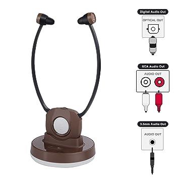 Jelly Comb Auriculares Inalámbricos de TV con Estación de Carga Transmisión Recargable Mejora de Auriculares para Ancianos para SmartTV, PC, DVD, CD, ...