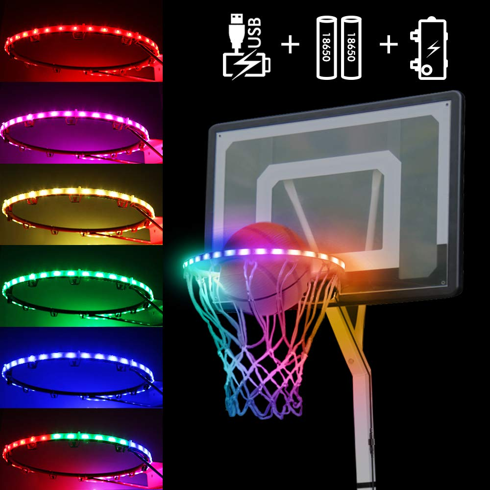 PRIDEAST IP65 Waterproof Basketball Hoop Light, Motion Sensor LED Strap Lights -Rechargeable 2400mAh 18650 Battery, Battery Box, USB Cable, Adhesive 3M, Zip Tie, Velcro -Sports Gift for Kids Boys