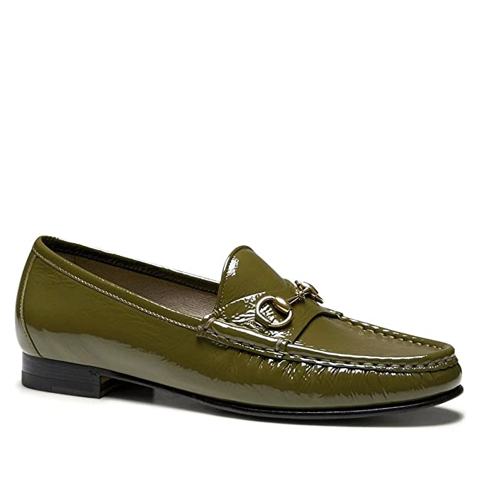 Gucci Bocado de Cuero mocasín 338348 de Patentes de 1953 (6.5 U.S. / 36.5, Oliva): Amazon.es: Zapatos y complementos