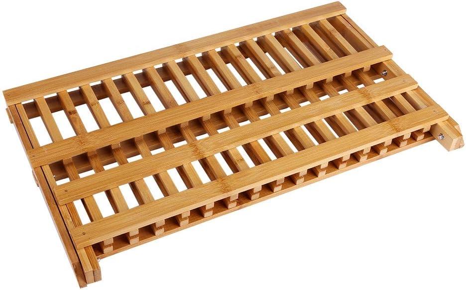 Escurreplatos Plegable de bamb/ú con 20 Rejillas Noblik Soporte de Madera para Platos