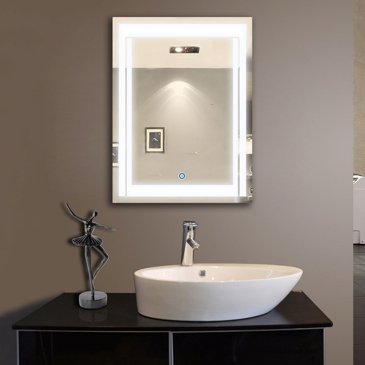 Amazon PartyWoo Vertical LED Lighted Vanity Bathroom Silvered Mirror Touch Button Make Up Wall Mounted 24 Inch X 32