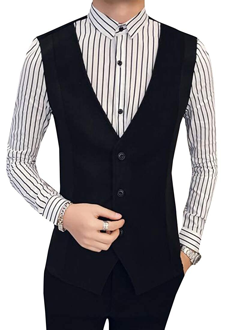 YYear Mens Long Sleeve Slim Fit Vest Fake Two Pieces Club Button Down Dress Shirts