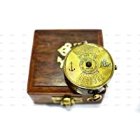 World Of Vintage 2-inch Antique Brass 100 Years Calendar Compass with Wooden Box (Multicolour)