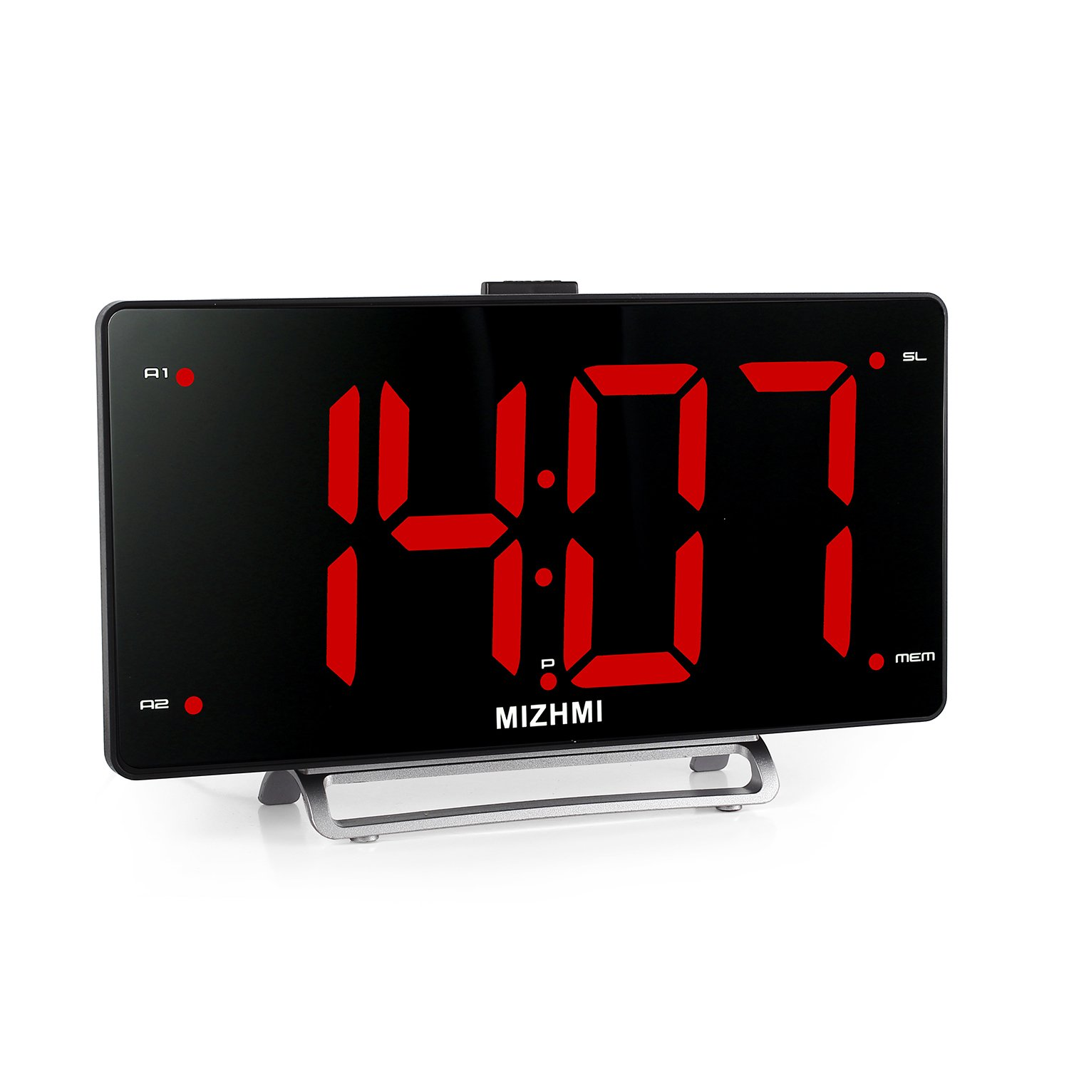 MIZHMI Alarm Clock with FM Radio, Dual Alarm, Nap/Sleep Timer, 3'' LED Dimmer 12/24 Hour Display with Dimming,Snooze Function, USB Charging