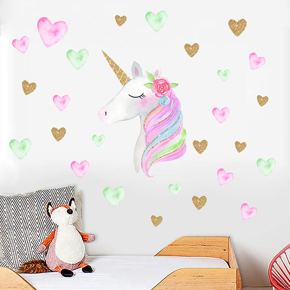 ANBER Adorable Unicorn Wall Sticker Peel and Stick Decal Colorful Hearts Wall Decorative Sticker Girls Bedroom Kids Rooms Home D/écor