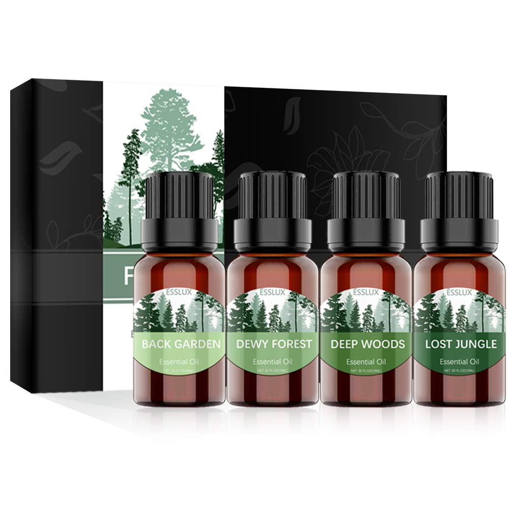 Essential Oils Blend, ESSLUX FOREST Collection, Woodsy Essential Oils Gift Set, TOP Quality Blend for Diffuser, Home Fragrance & Candle Making, 4x15ml
