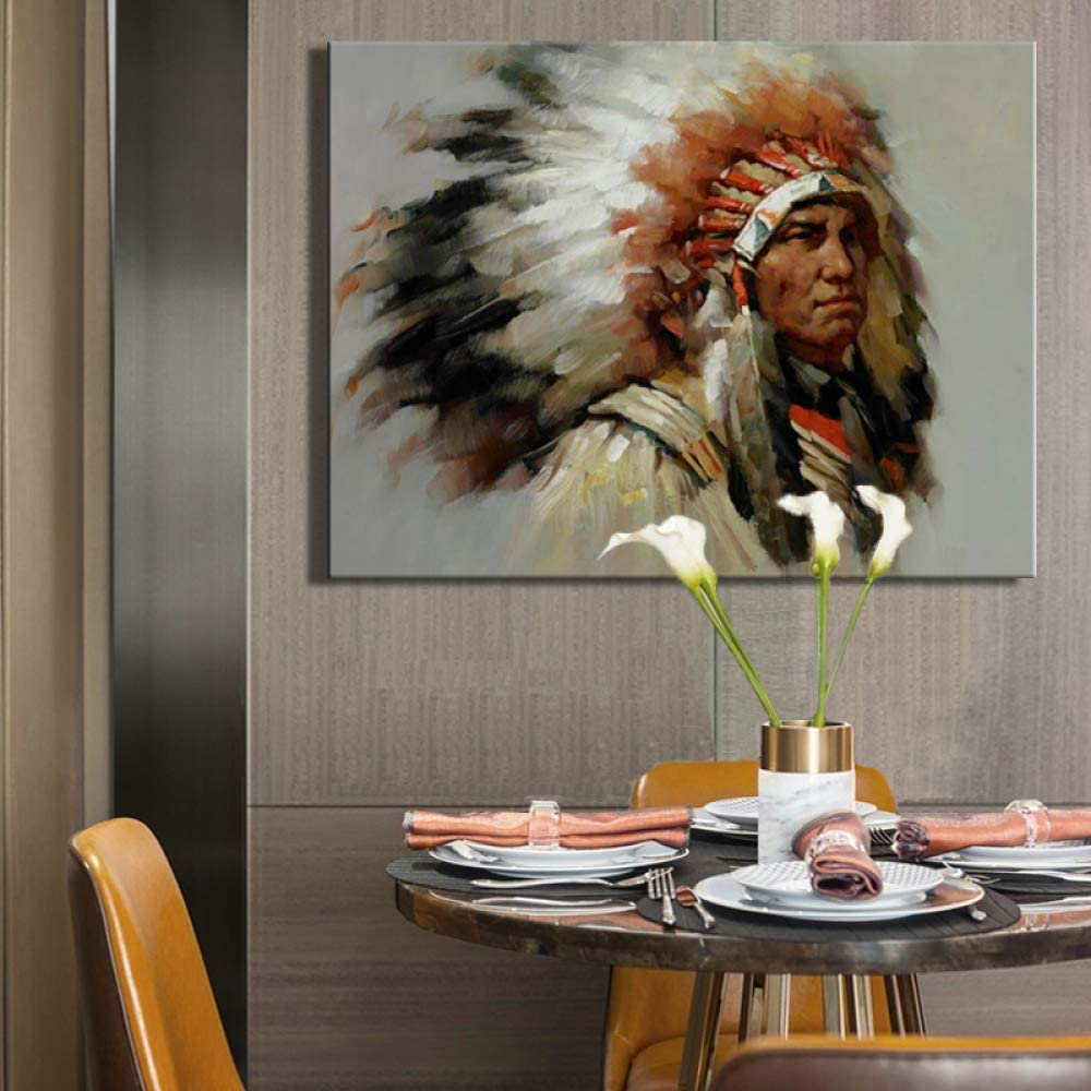 NIMCG Abstract Indian Feather Portrait Carteles e Impresiones en Lienzo Arte de la Pared Lienzo Pintura Cuadros Decorativos para Sala de Estar 60x80CM (Sin Marco)