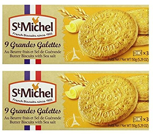 St Michel La Grande Galette Butter Cookies, Sea Salt, 5.3 Ounce (Pack of 2) -
