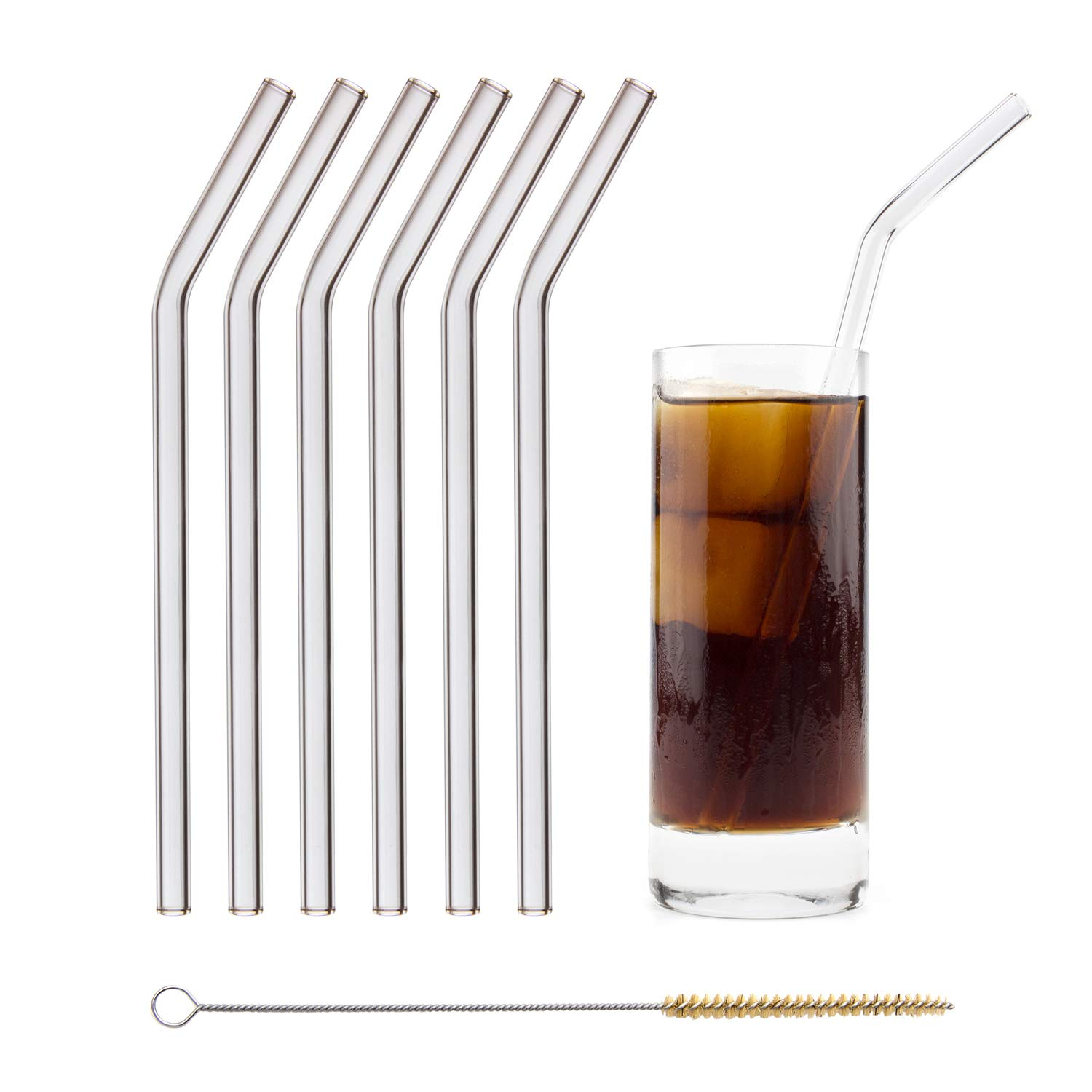 HALM Glass Straws - 6 Reusable Drinking Straws + Plastic-Free Cleaning Brush - Made in Germany - Dishwasher Safe - Eco-Friendly - 23 cm (9 in) x 0.9 cm - Bent - Perfect for Smoothies, Cocktails by HÅLM