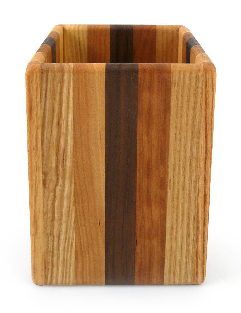 American Made Mixed Wood Utensil Holder Crock, Single Size Modern Artisans HD0618