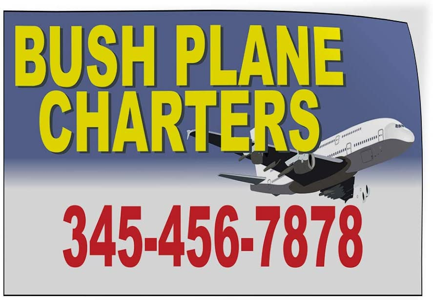 Custom Door Decals Vinyl Stickers Multiple Sizes Bush Plane Charters Phone Number Business Bush Plane Services Outdoor Luggage /& Bumper Stickers for Cars Yellow 34X22Inches Set of 5