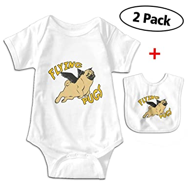 910d867c2 Amazon.com: Flying Angle Pugs Newborn Infant Baby Boys Girls Romper Bodysuit  Short Sleeve Outfit Clothes One-Piece: Clothing