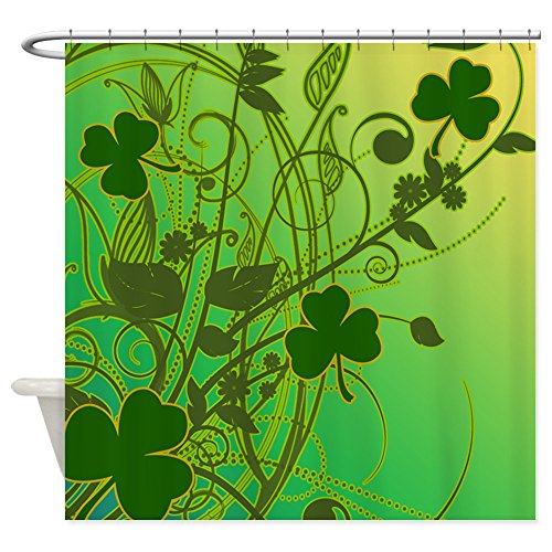 Irish Shamrock Filligree Fabric Shower Curtain