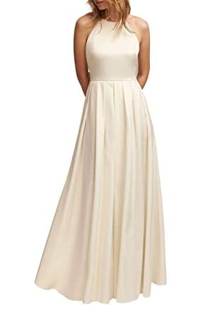 Halter Bridesmaid Dresses Long Open Back A Line Prom Party Dress ...