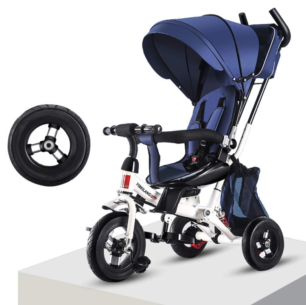 赤ちゃん自転車子供の車三輪自転車ハンドプッシュシートショックアブソーバー1-3年歳子供自転車キッズベビーカー幼児トライクオーニング (色 : 青)  青 B07RJBV1NG