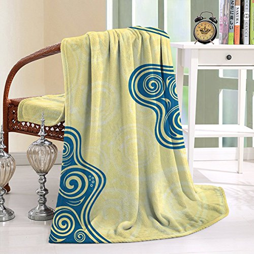 HAIXIA Blanket Vintage Style Floral Framework with Ornate Swirled Lines Spirals and Wavy Shapes Yellow Blue