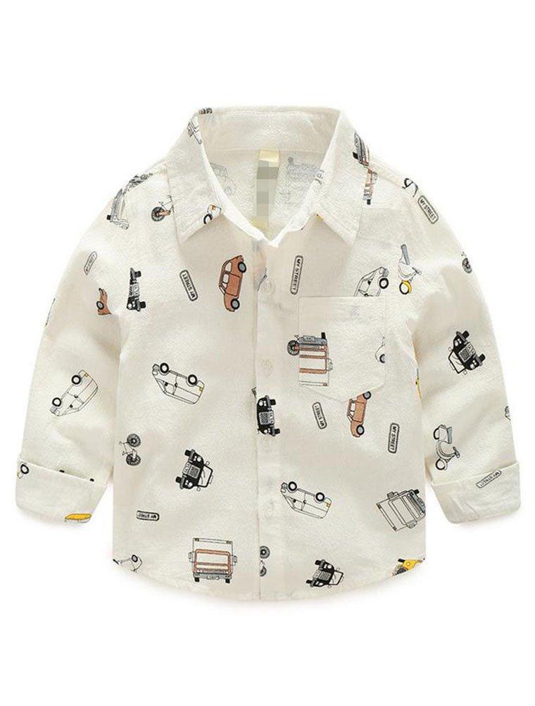 Abolai Boys' Short Sleeve One Pocket Dinosaur Pattern Woven Shirt