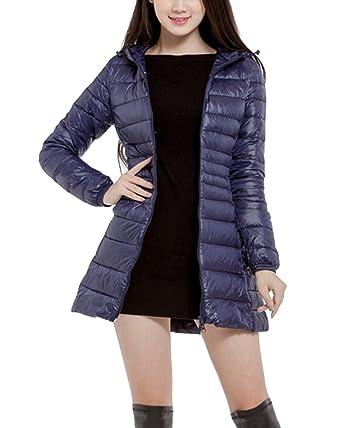 6475138b27e6 Femme Doudoune à Capuche Ultra Légère Compressible Veste Chaud Blouson  Longues Manteau Bleu-Marine S