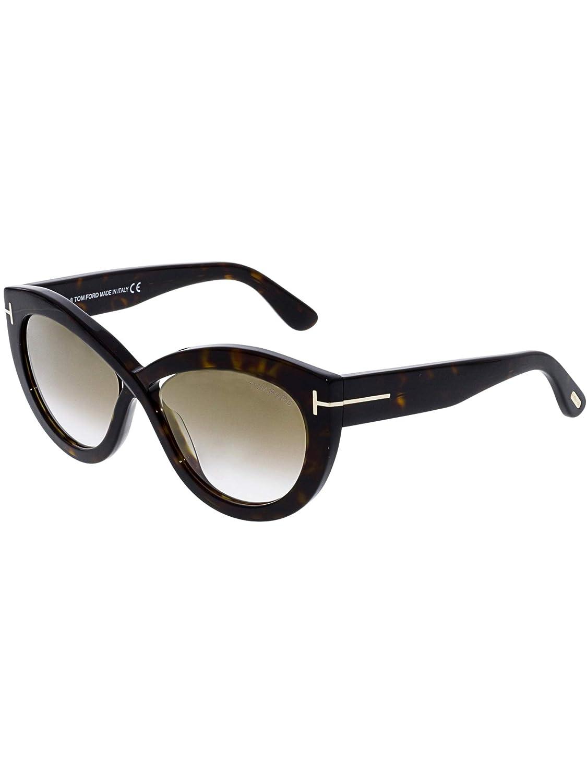 6d1a4e26fa 2018 Tom Ford Diane-02 FT0577 52G Women Dark Havana Infinity Cat-Eye  Sunglasses at Amazon Women s Clothing store