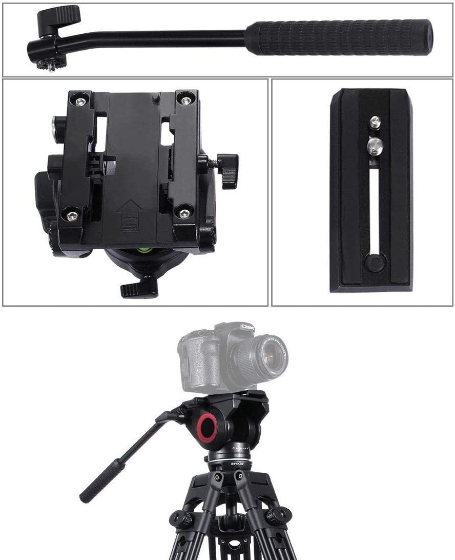 HUANGMENG Accessori Heavy Duty Video Camera Tripod Action Fluid Drag Head with Sliding Plate for DSLR /& SLR Cameras Color : Black Large Size HUANGMENG Black