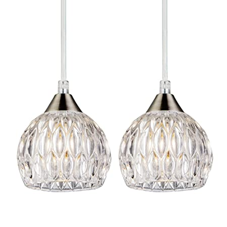 SOTTAE Modern Style Hanging Light Fixture 47.24 Cord Adjustable Bar Kitchen Pendant Light, Elegant Ceiling Light with Glass Shade 2 Packs