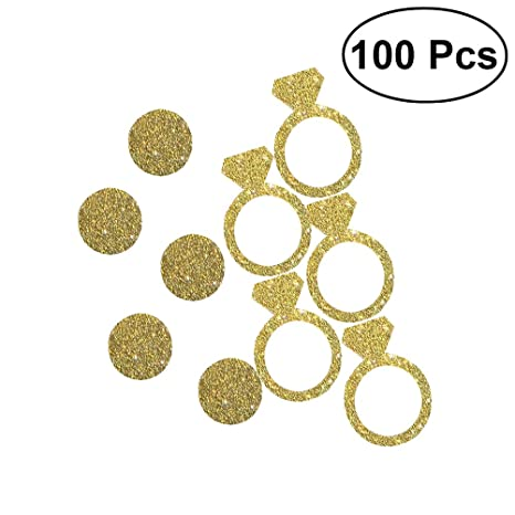 Toyvian Diamante Anillo de Confeti para la Boda Nupcial Ducha Bachelorette Decoración Anillo de Compromiso Confeti