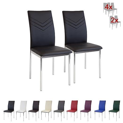100 opinioni per Albatros 2921 VERONA Set di 2 sedie da pranzo, nero, piede cromato, SGS tested