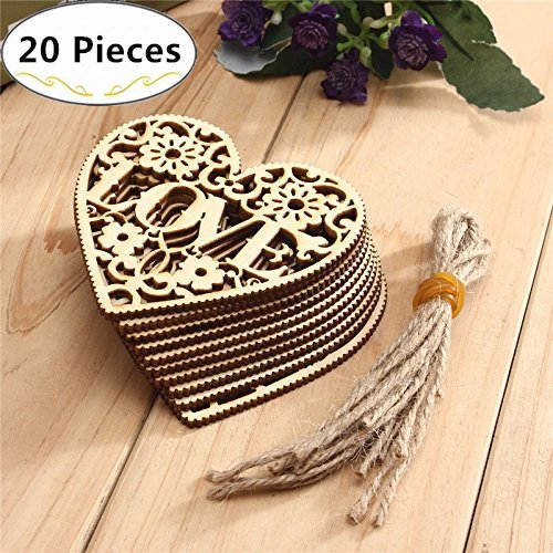20 Mini Wooden Heart, Magnolora 80mm Unfinished Blank Wood Slice Wood Ornaments with Brown Edge for Wedding Ornaments, Christmas Party Embellishments, Arts Crafts DIY (Unfinished Wood Mini)