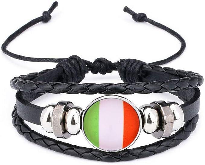2018 Banderas Nacionales pulsera brazalete del encanto pulseras de cuentas trenzó pulsera para hombres y mujeres (Italia): Amazon.es: Belleza