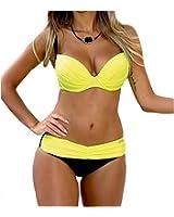 DELEY Frauen Push Up Sommer Strand Süßigkeit Farbe Triangel Brasilianische Bikini Beachwear Bademode