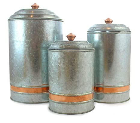 Galvanized Canisters Farmhouse Rustic Metal Set of 3 Flour Sugar Container  Canister Kitchen Single Copper Band, 6 Liter, 3 Liter, and 2 Liter by Well  ...