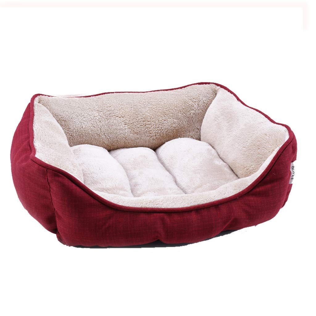 M(20kg of pets) Kennel Pads Dog Beds Pet Bed Wine red Square pet nest Four Seasons Universal Small Velvet Dog cat Litter Mattress Warm Autumn and Winter Models Cat Bed Pet Supplies Cover (Size   M(20kg of Pets))