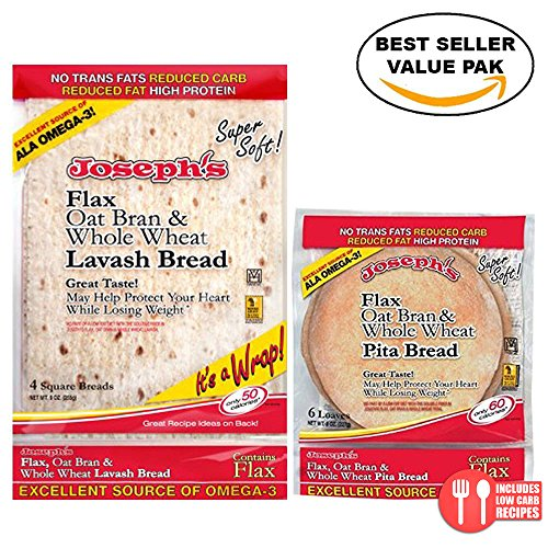 Value Bundle: Joseph's Lavash Bread and Pita, Flax Oat Bran & Whole Wheat Reduced (Fiber Bread)