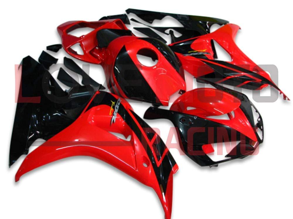 LoveMoto ブルー/イエローフェアリング ホンダ honda CBR1000 RR 2006 2007 06 07 CBR1000 RR ABS射出成型プラスチックオートバイフェアリングセットのキット レッド ブラック   B07K8173HC