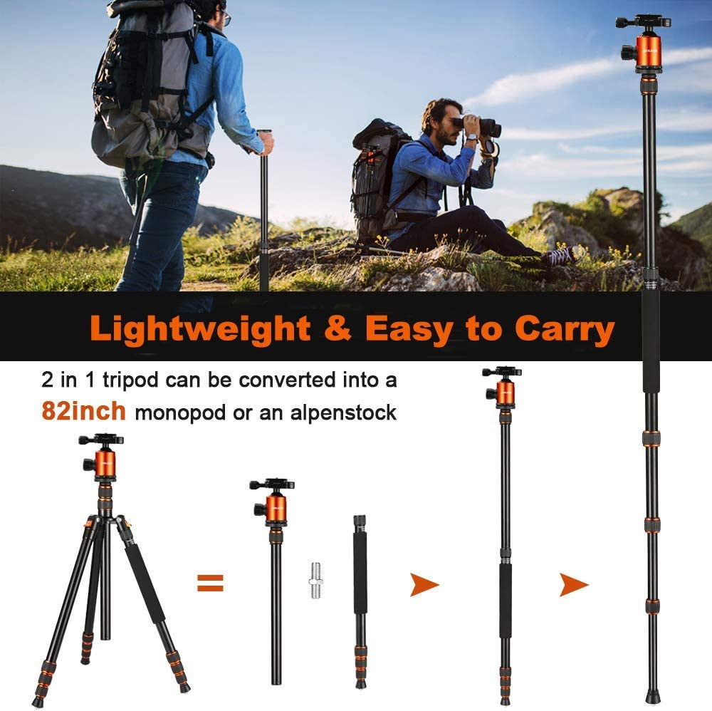 """Joilcan 80-inch Tripod for Camera, Aluminum Tripod for DSLR, Monopod, Lightweight Tripod with 360 Degree Ball Head Stable for Travel and Work 18.5""""-80"""", 19lb Load (Orange) : Camera & Photo"""
