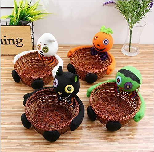 VPlus 2Pcs Halloween Candy Basket,Ghost Pumpkin Head Doll Decoration Bowl for Biscuit Fruit Biscuit Basket Pumpkin Black Cat Ghost Hand-Woven Decoration Home Decor Gift Packages Pattern Random -