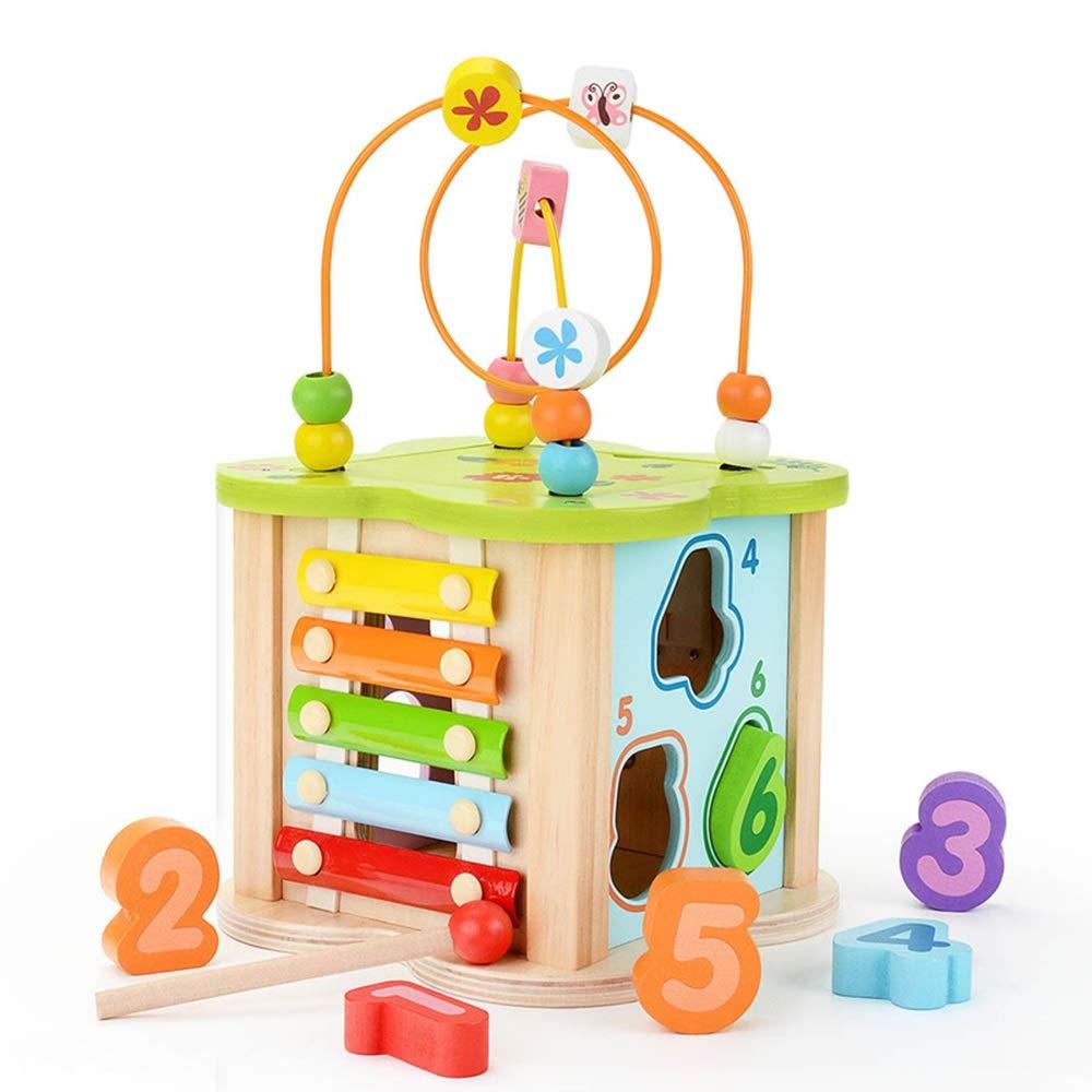 Xyanzi Juguetes para Bebés Actividad Juguetes de Cubos Educación para la Primera Infancia Grano de Madera Clasificador de Laberinto Forma de niño y niña de 1-3 años Regalo para niño