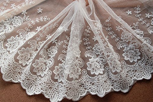 5yards Vintage Embroidered Lace Edge Trim Ribbon Wedding Applique DIY Sewing Craft,19CM Widths (J-5yards, Beige)