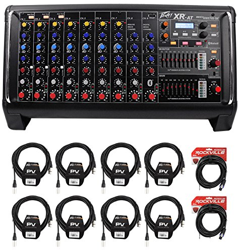 14 Channel Powered Mixer - Peavey XR AT 1000W Powered/Active 9 Ch. Mixer w/ Bluetooth+AutoTune XRAT+Cables