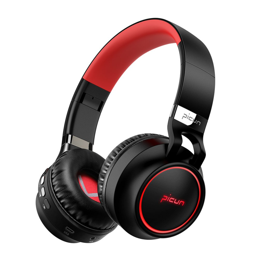 Bluetooth Headphones, Wireless Over Ear Headphones, Foldable Hi-Fi Stereo Headset with Noise Cancelling Microphone, Supports TF Card Hands-Free Calling and Wired Mode (Black&Red)