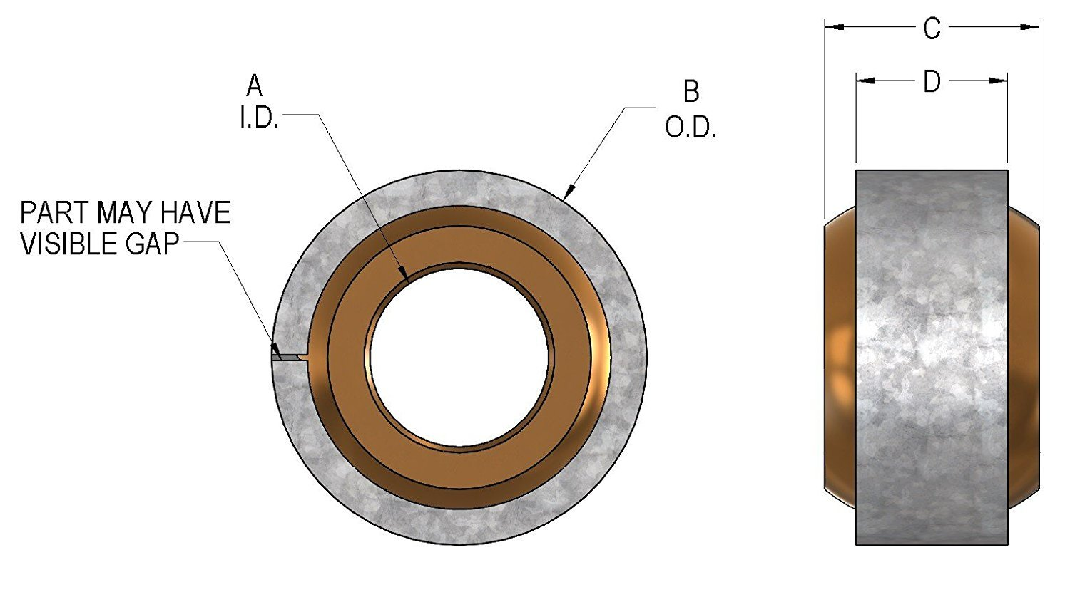 Self Aligning Spherical Plain Bearing with 3//8 inch Bore size Triangle Mfg Qty 2 Oil Impregnated with Steel Ring.