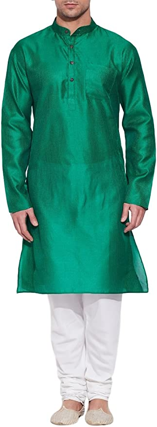 ShalinIndia Kurta de Seda Verde Esmeralda para Caballero – Hombres la Moda India – poliéster Dupion
