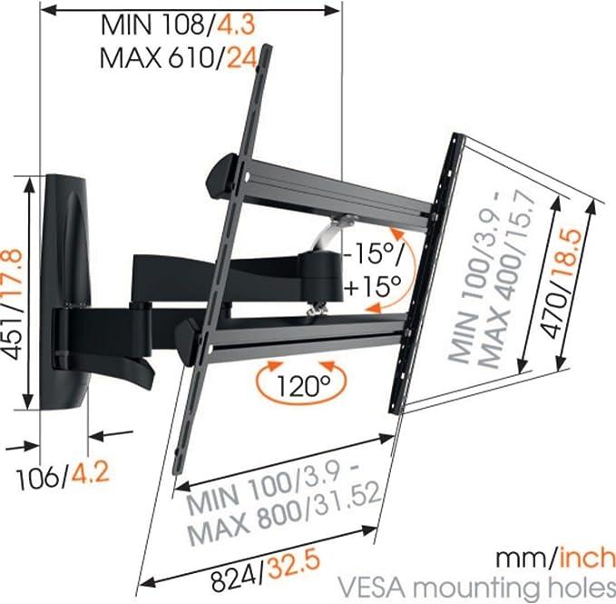 Vogels WALL 3450, Ultra fuerte soporte de Pared para TV muy grande (140-254 cm, 55-100 Pulgadas) y mayor peso (máx 55 kg), Inclinable y Giratorio 120º, Sistema VESA máx. 800x400 mm, negro: