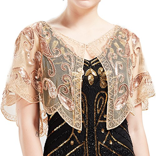 BABEYOND 1920s Shawl Wraps Beaded Evening Cape Bridal Shawl Flapper Cover Up - Apricot Fiesta