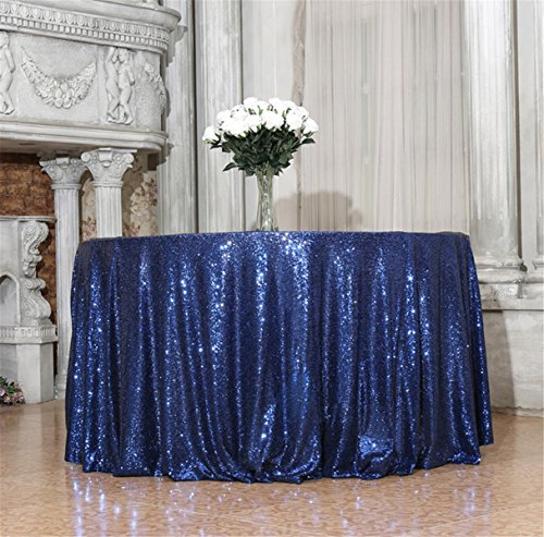 Eternal Beauty 50 inch Round Navy Blue Sequin Tablecloth for Wedding Party Cake Dessert Events Table -